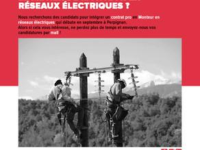 Perpignan : contrat pro Monteur réseaux électriques