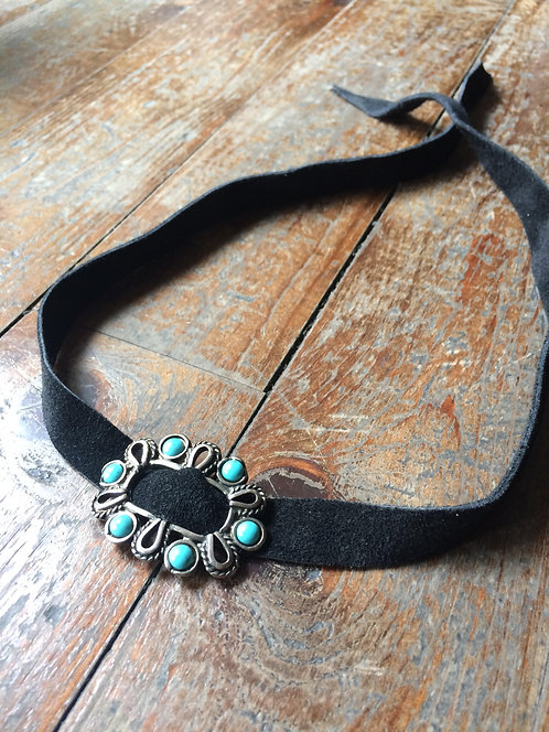 """""""turquoise"""" suede choker"""