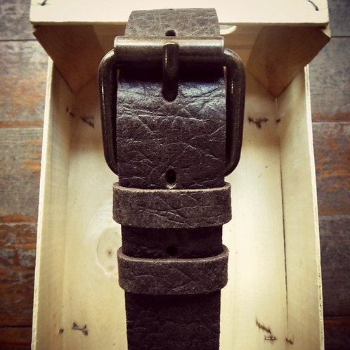 Embossed leather belt with bronze buckle