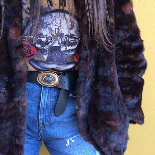 Leather belt with bronze buckle with stone