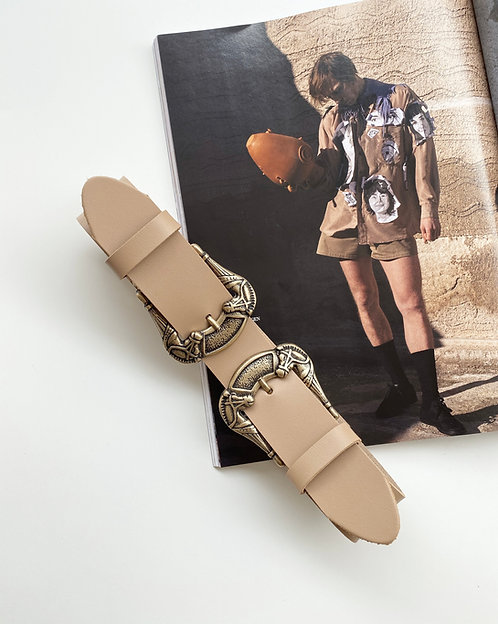 """Freedom"" leather belt in beige"
