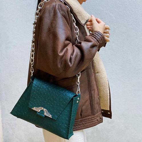 """Wings"" cypress green shoulder bag"