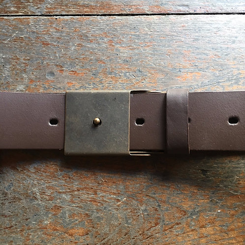 Leather belt with special bronze buckle