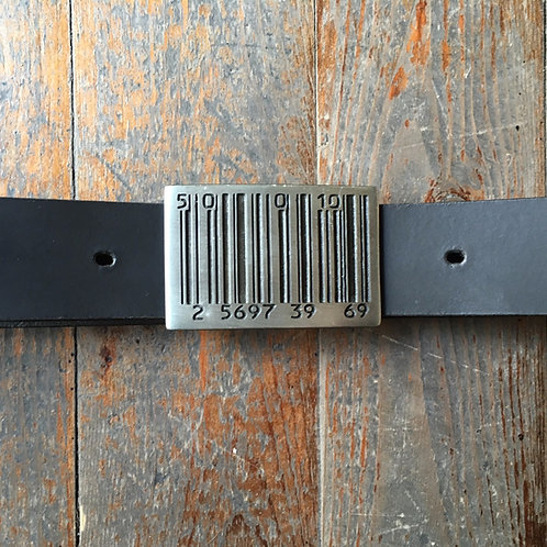 "Leather belt with black nickel, ""barcode"" buckle"