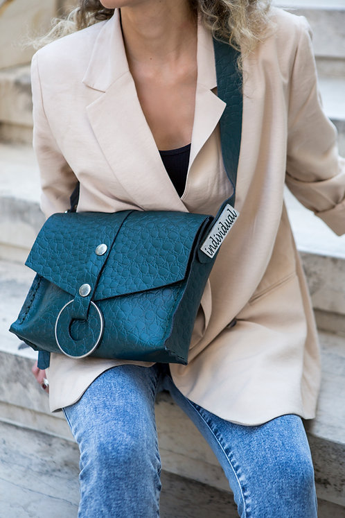 """Queen of peace"" cypress green shoulder bag"