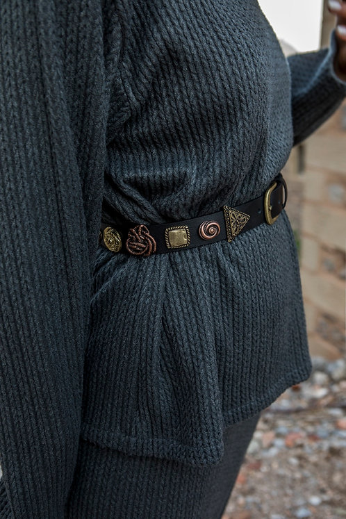 """Stary eyes"" leather belt"