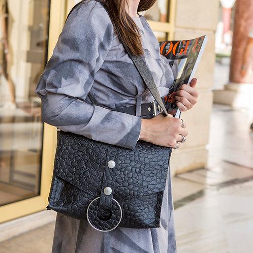 """Queen of peace"" black shoulder bag"