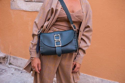 """Lift me up"" cypress green shoulder bag"