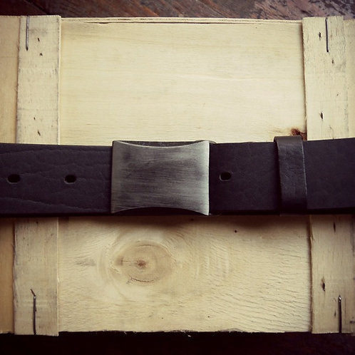 Leather belt with black nickel carved buckle