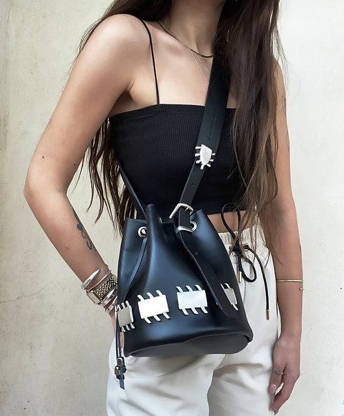 """Sacrifice""   pouch bag in black"