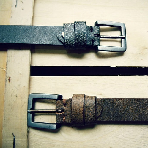 Antiqued leather belt with black nickel buckle