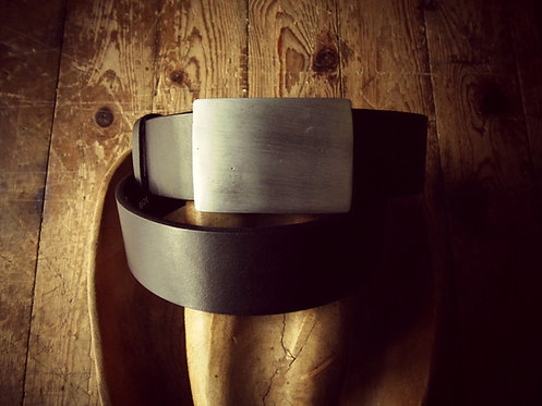 Leather belt with black nickel buckle