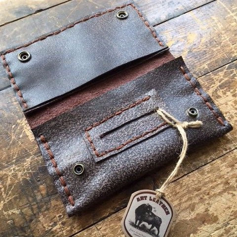 Leather embroidered tobacco case