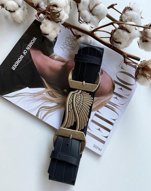"""""""Broken wings"""" leather belt"""