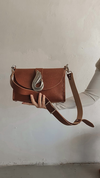 """Teardrop"" taba shoulder-clutch bag"