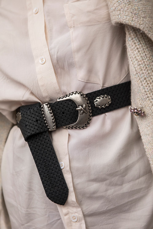 """Crocodile rock"" leather belt"
