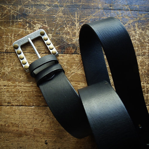 Leather belt with metal studs buckle