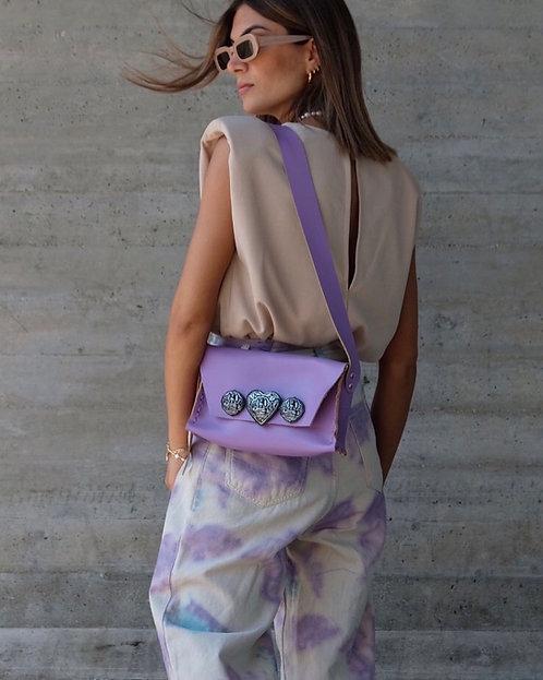 """Heartbeats"" purple shoulder bag"