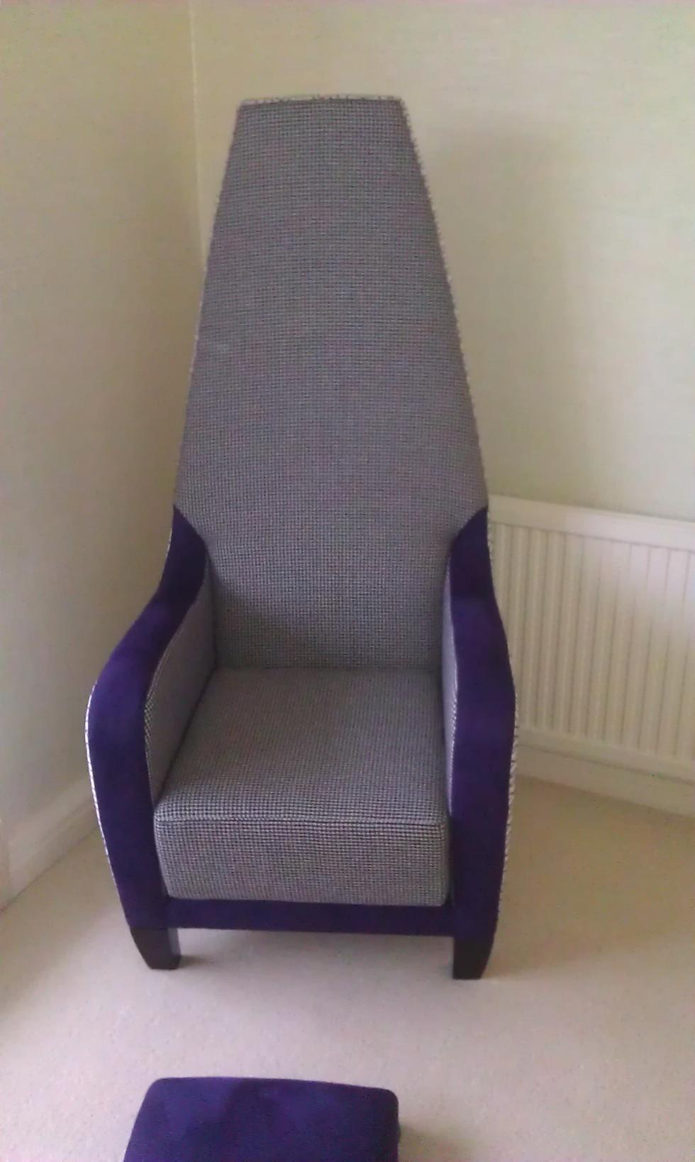 Upholstered High Back Chair della-Porta design