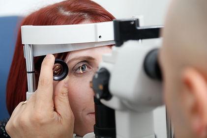 Patient having an eye exam