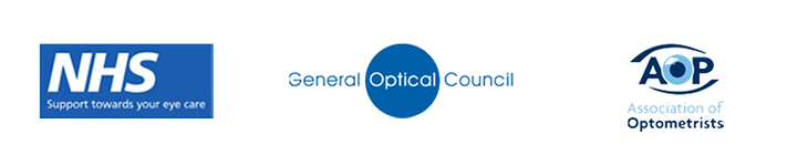 NHS logo, General Optical council logo, Association of optometrists logo.
