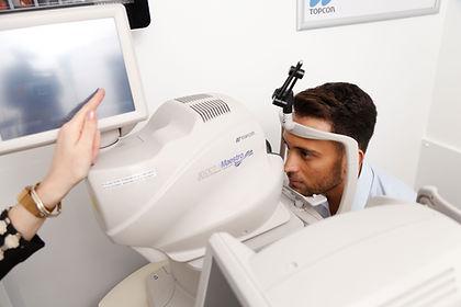 Patient undergoing an OCT scan