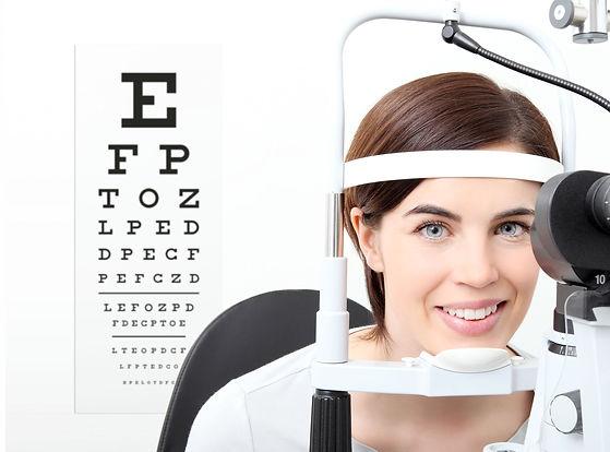 Photograph of a patient having an eye exam