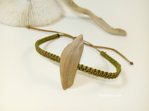 Green and brown bracelet with driftwood piece