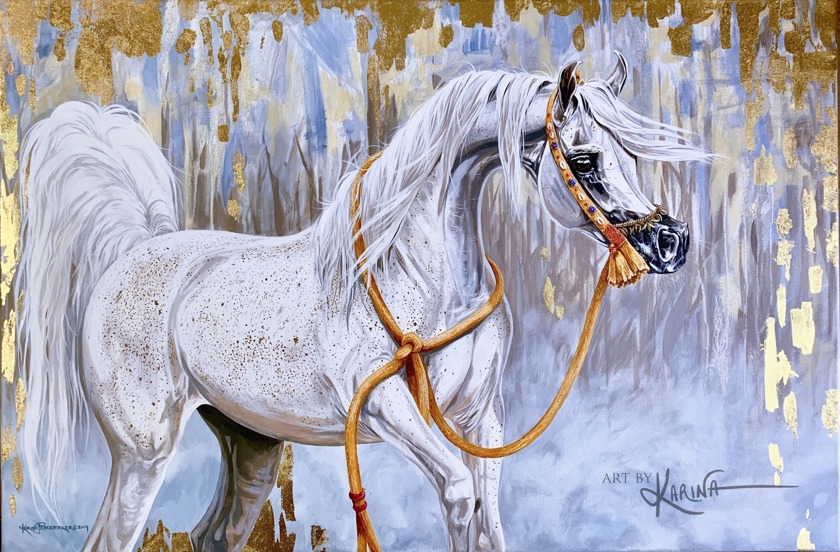 Drops of Gold - Arabian horse oil painting with 22 karat gold leaf by Karina Peacemaker