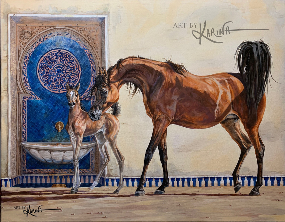Promise - arabian horse oil paintng by Karina Peacemaker