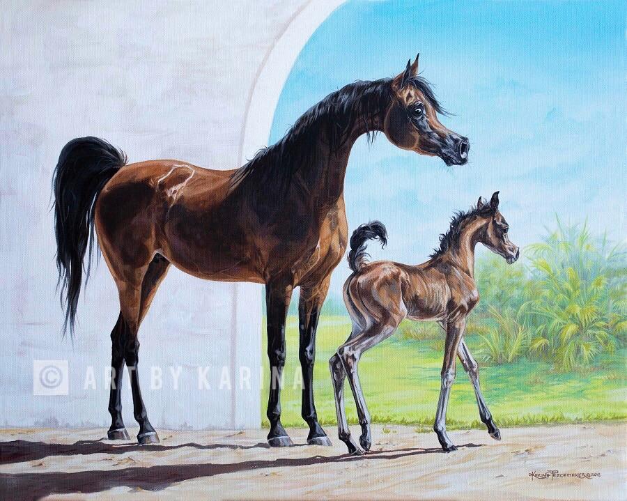 Treasures of Spring - Arabian horse oil painting by Karina Peacemaker