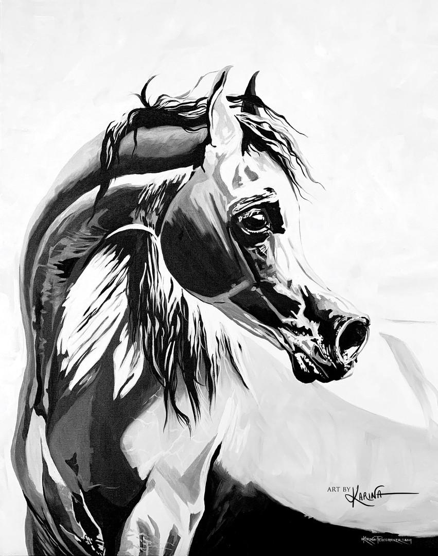 Breathe - Arabian horse oil painting by Karina Peacemaker