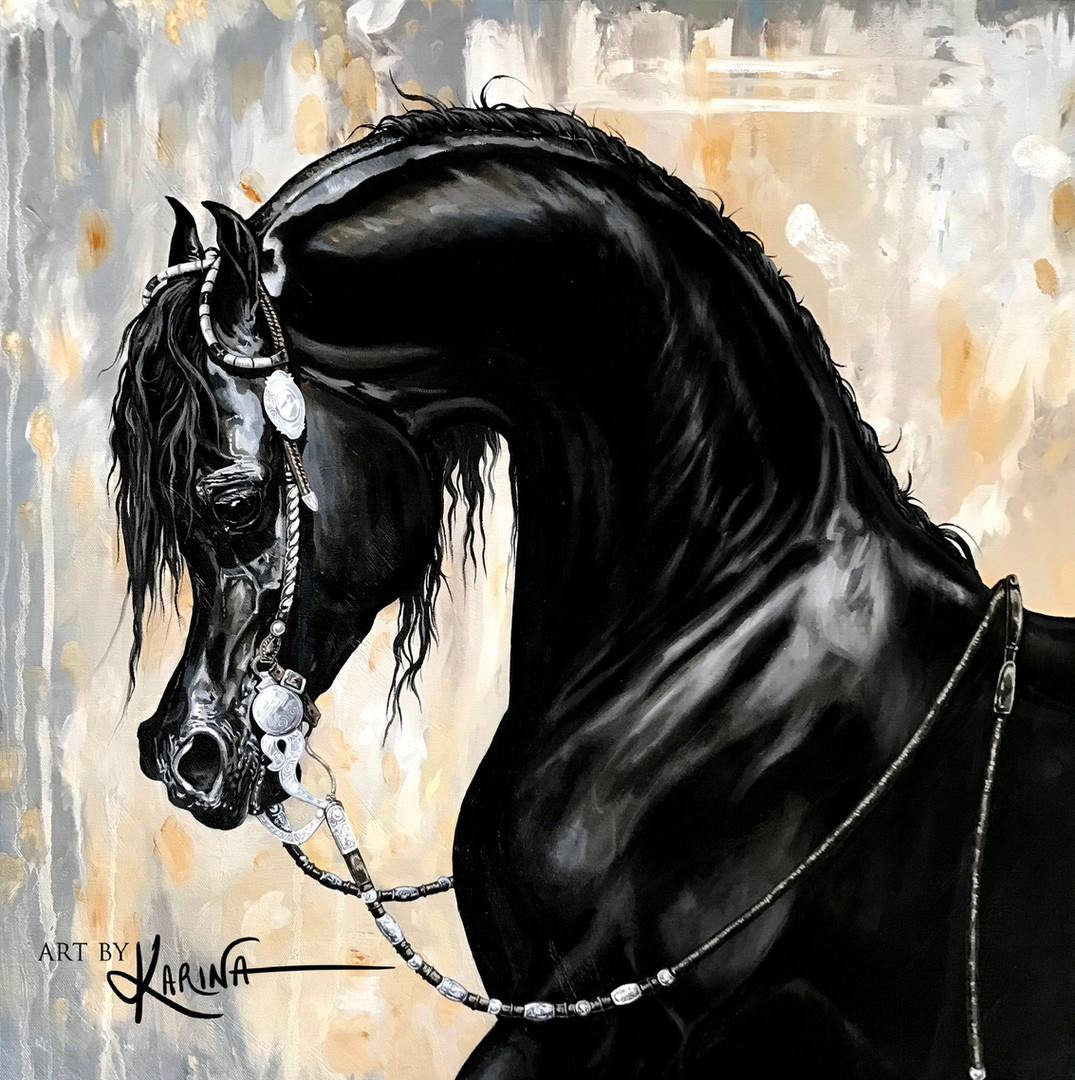 Silver Eclipse - Arabian horse oil painting by Karina Peacemaker