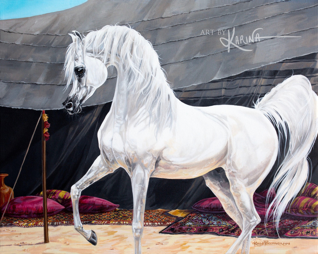 The Sentinel - Arabian horse oil painting by Karina Peacemaker