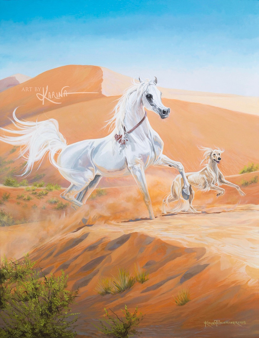 Flight Without Wings - Arabian horse oil painting by Karina Peacemaker