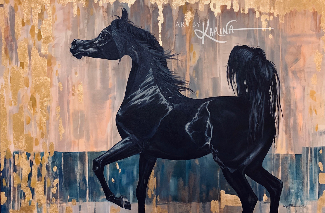 Dream Song - Arabian horse oil painting by Karina Peacemaker
