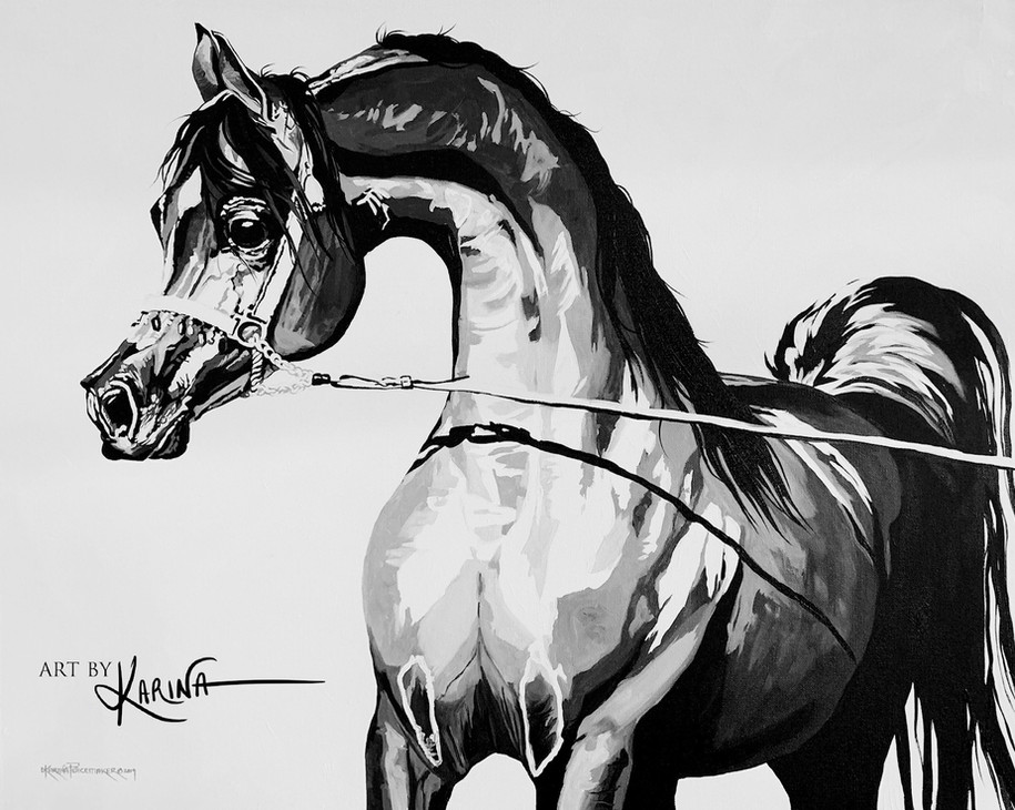 Vision - modern Arabian horse oil painting by Karina Peacemaker