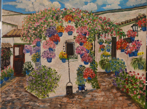 Beautiful, Abundant Flowers In Blue Pots, Stucco Buildings And Garden Well  All Make A Picturesque Scene In My Original, One Of A Kind Acrylic Painting.