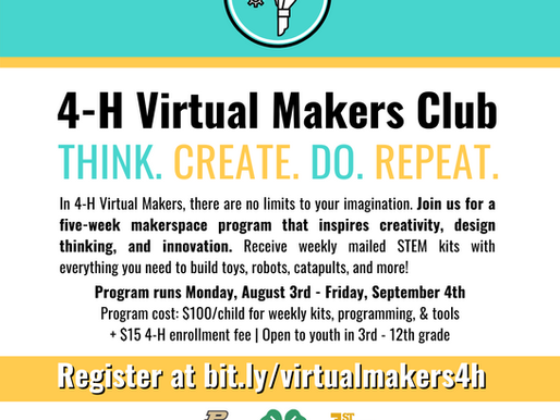 1st Maker Space partners with 4H to host virtual maker club!