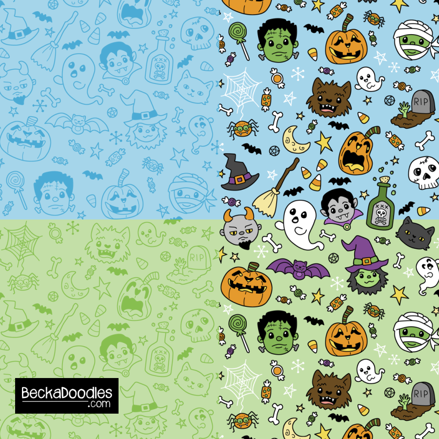 Halloween Doodles blue-green