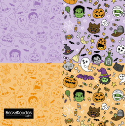 Halloween Doodles purple-orange
