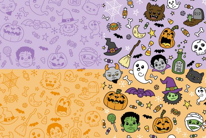 Halloween Doodles purple-orange