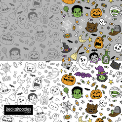 Halloween Doodles gray-white