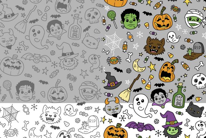 Halloween Doodles gray-white
