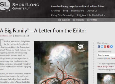 Submissions Editor at SmokeLong Quarterly