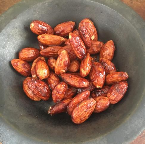 Warm roasted almonds...