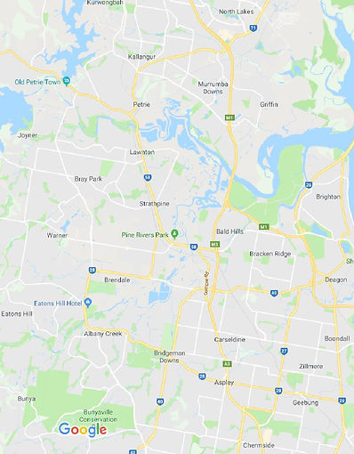 Google Map showing some of the Suburbs that we Service on Brisbane Northside