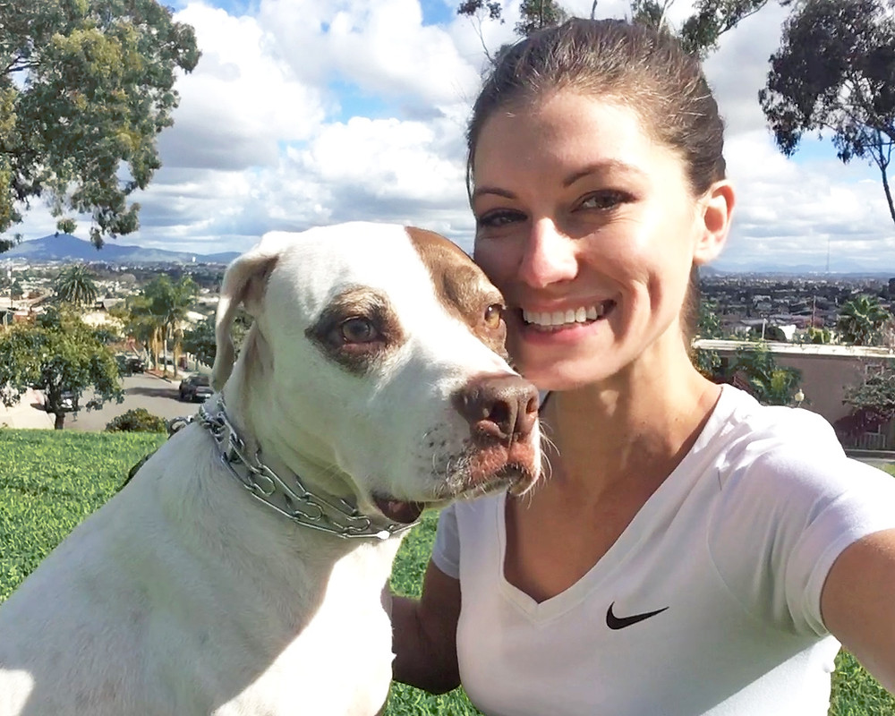 white pit bull mix dog wearing prong collar with trainer girl