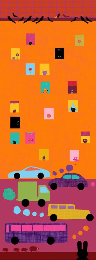 Busiga djur / Bilar i staden