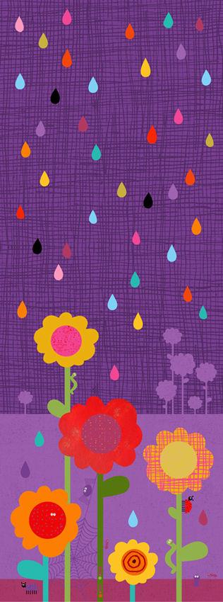 Busiga djur / Blommor och regn